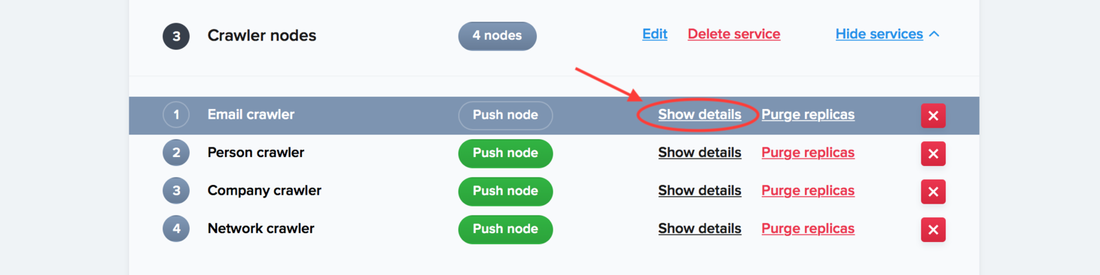 """Reveal the node identifiers by clicking on """"Show details"""""""