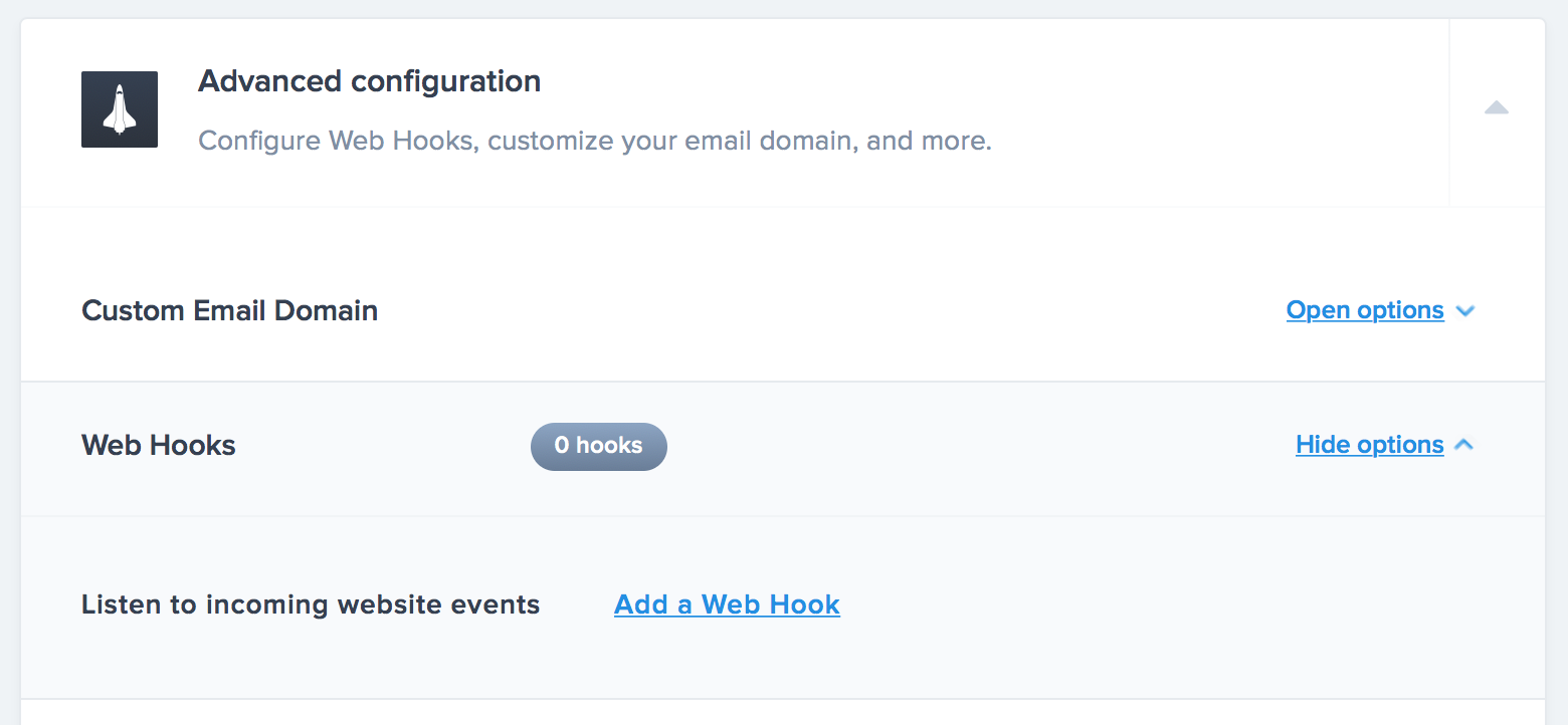 Create a new Web Hook