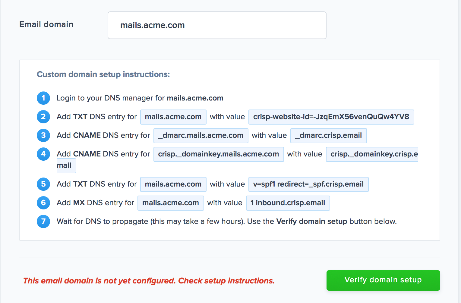 DNS records are generated, make sure to add them all in your DNS manager