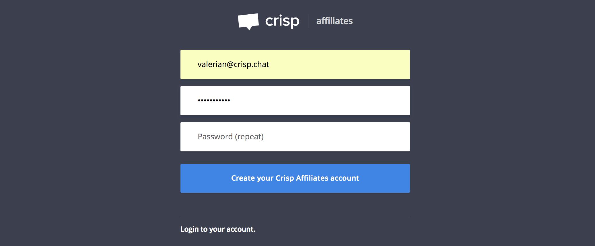 Create your Crisp Affiliates account
