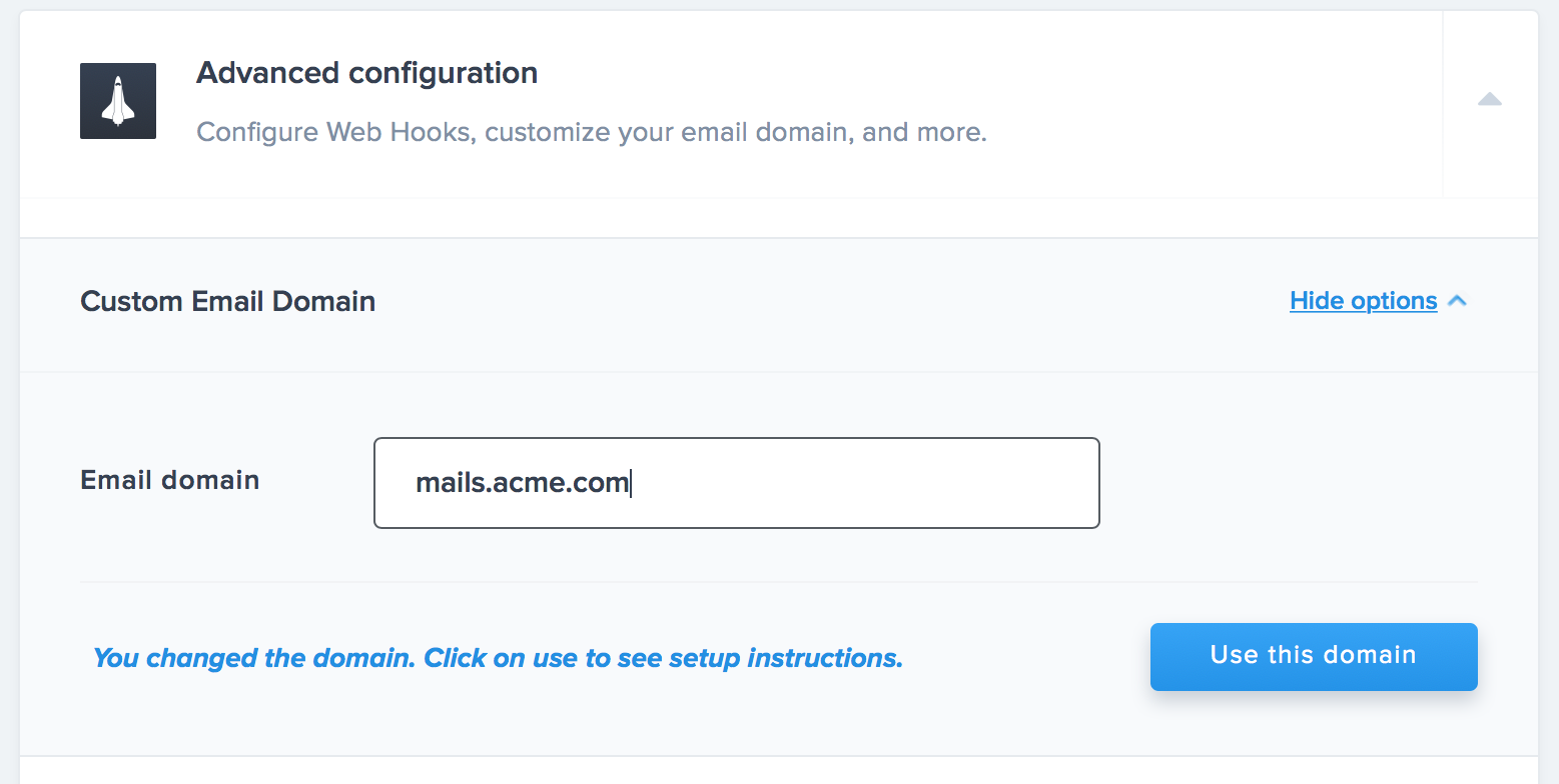 Enter your custom email domain, and then click use