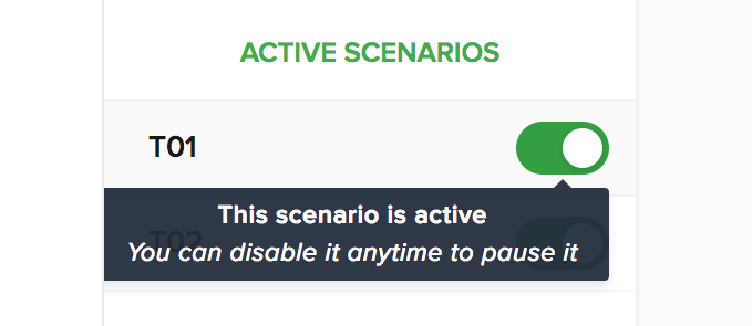 Toggle to OFF the active scenario to pause it