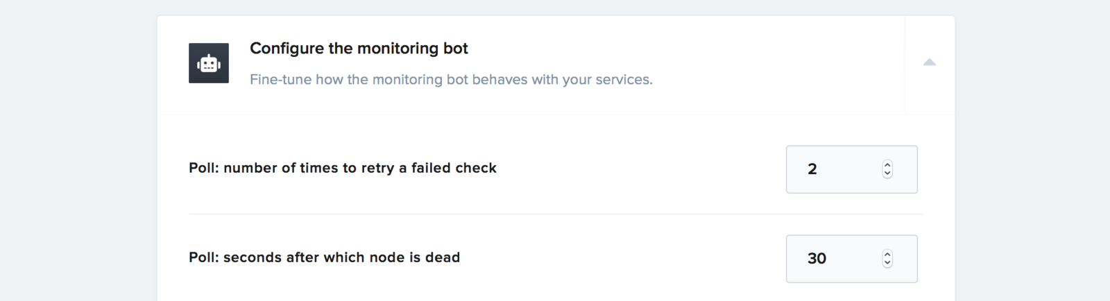 Monitoring bot options for poll mode nodes