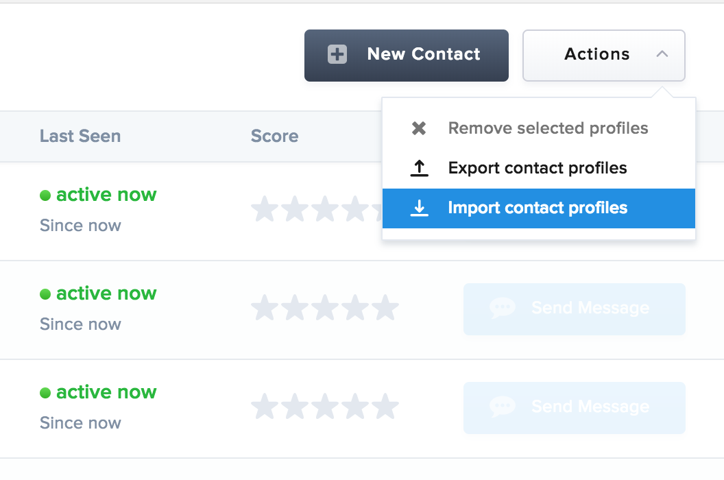 Click import contact profiles