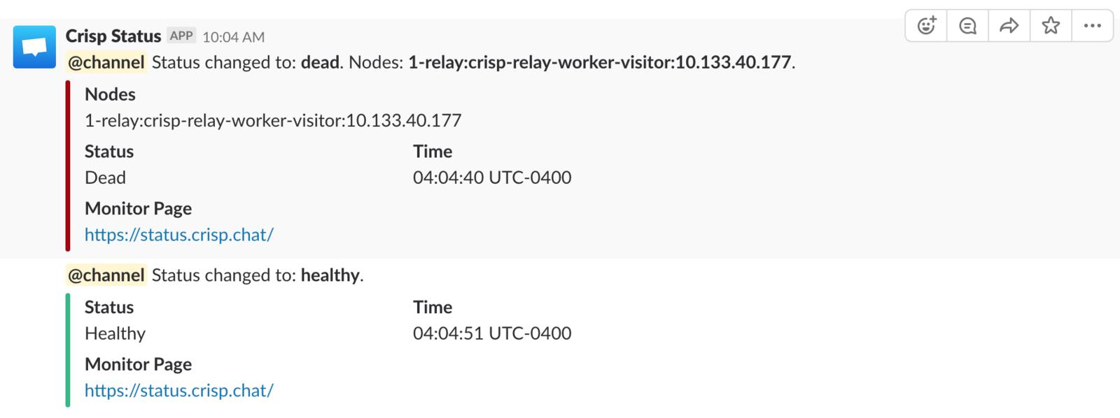 Downtime notification Slack message