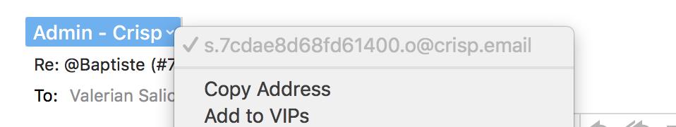 A message notification email sent by Crisp (default Crisp domain)