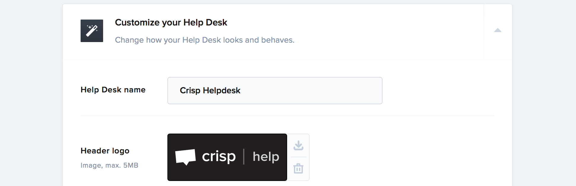 The Helpdesk customization settings