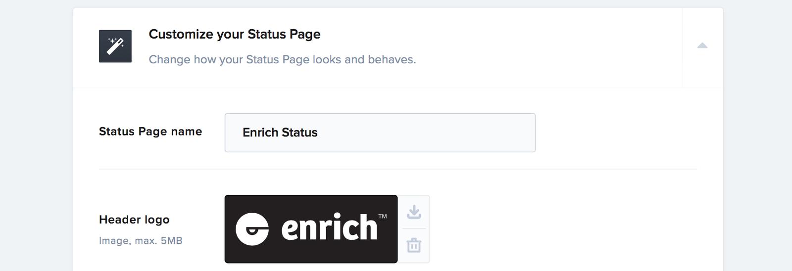 The Status Page customization settings
