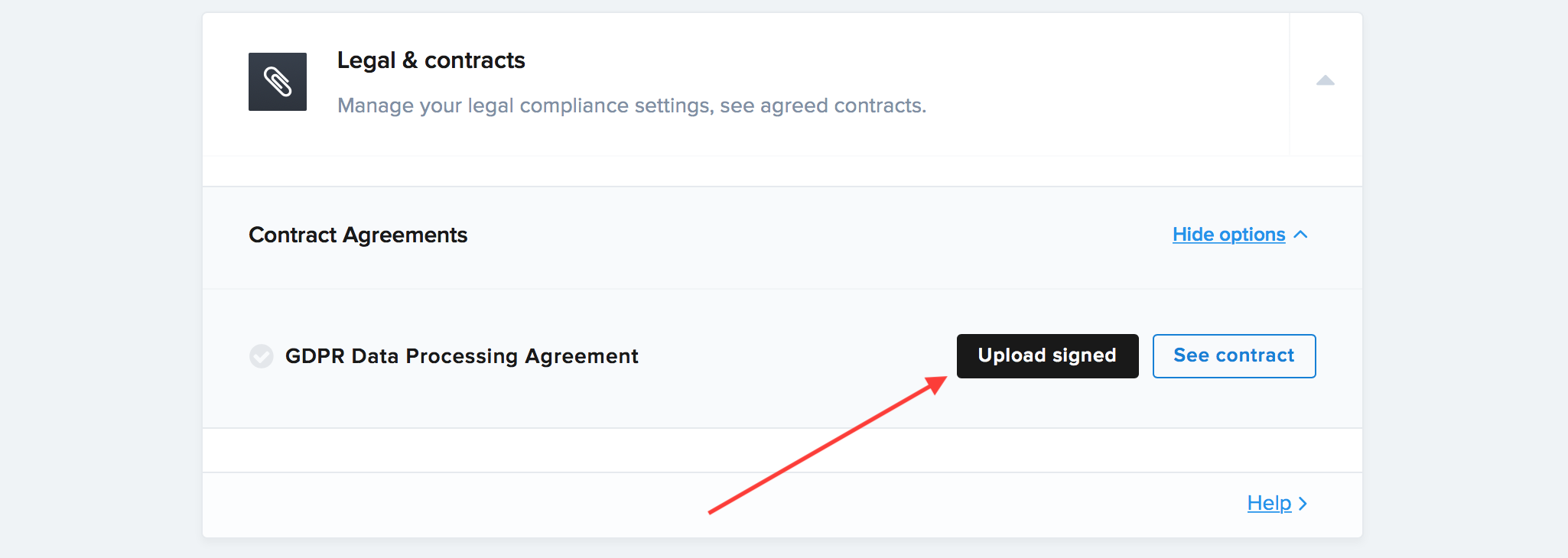 Once signed, upload your DPA contract PDF there