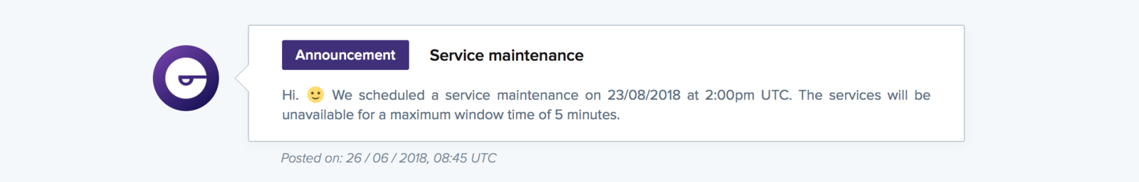 A maintenance announcement on a public status page