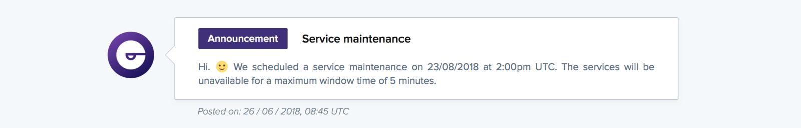 A maintenance announcement on a public status page