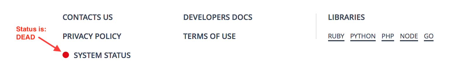 Crisp Status badge in the footer of a website