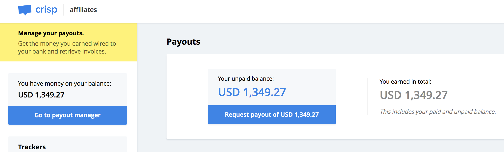 See how much money is available for payout