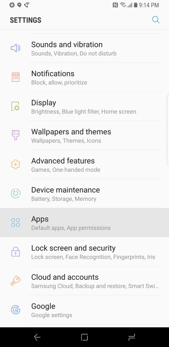 Go to the Android Settings, then apps