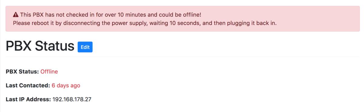 Example of an offline PBX