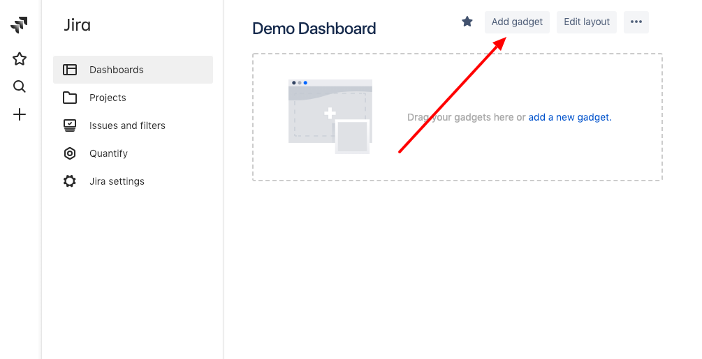 1. Open a dashboard in Jira where you want to add the gadget