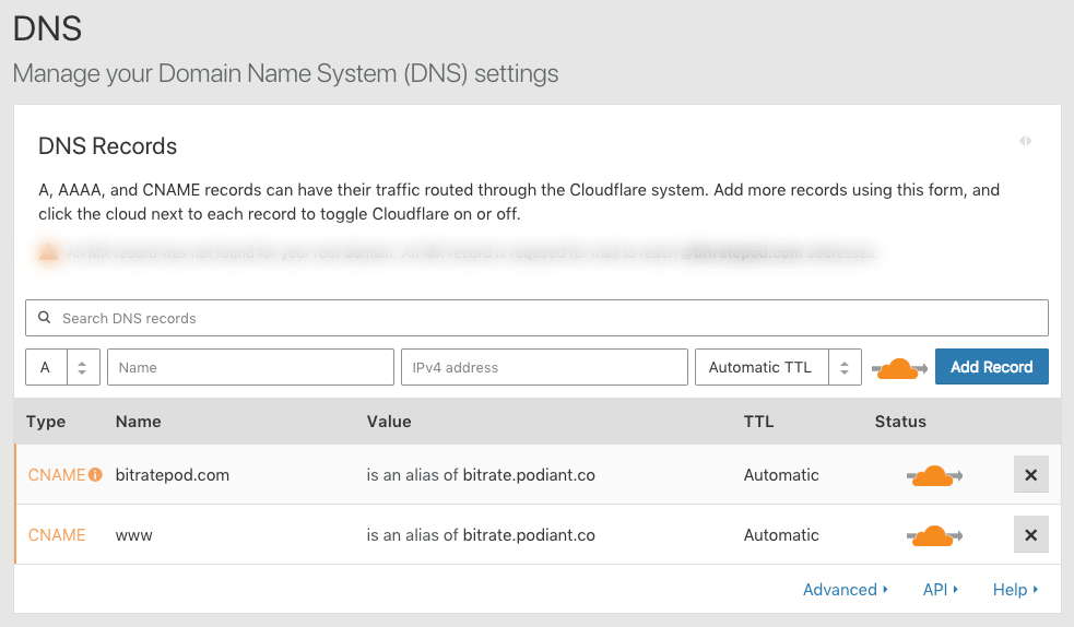 Cloudflare settings for the Bitrate podcast