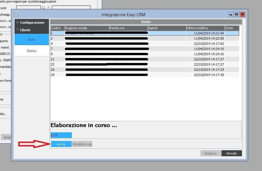 Passaggio di Invio Dati al CRM in Cloud