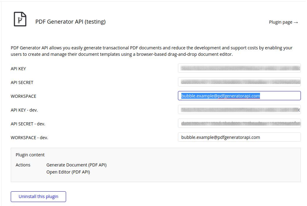 PDF Generator API Plugin Configuration
