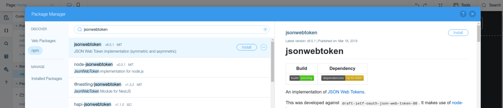 Install jsonwebtoken package