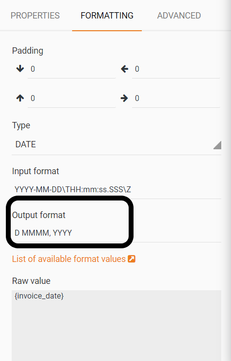 Output Format in the editor