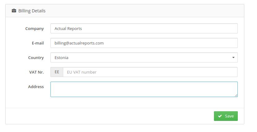 Billing email in Billing Details