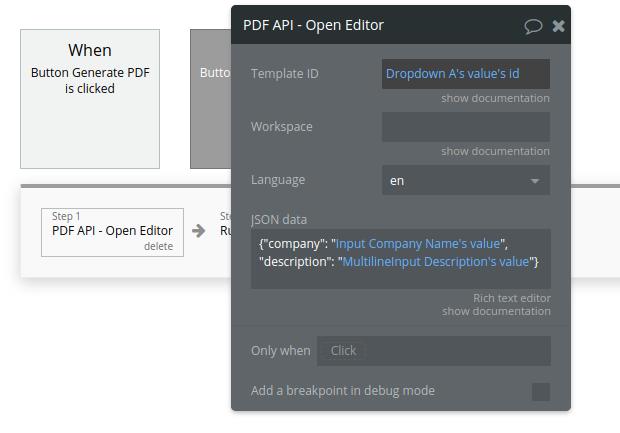 PDF API - Open Editor