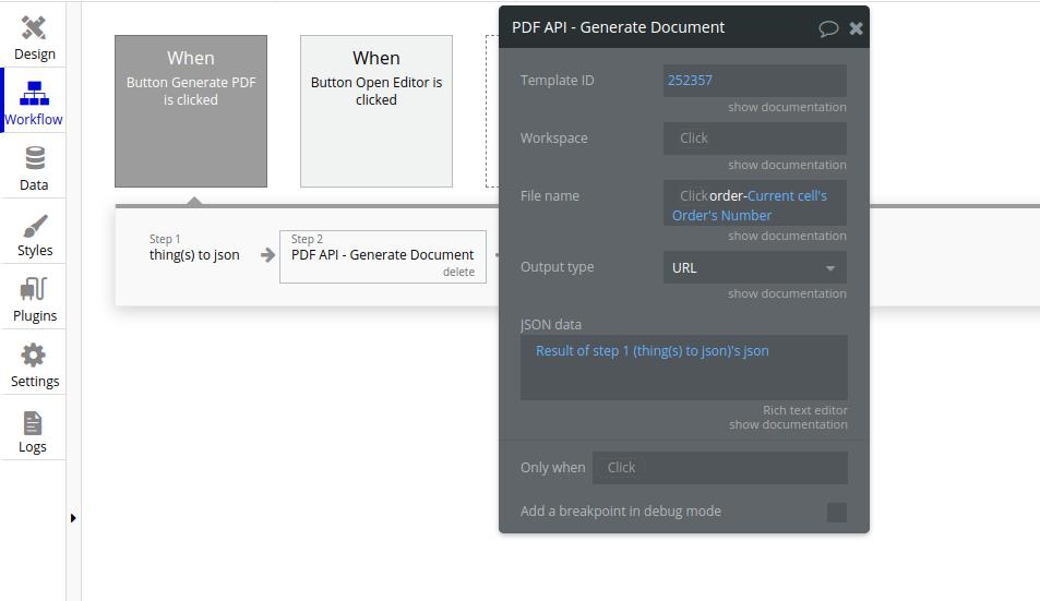 Use jsoNest result as JSON data from PDF API