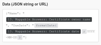 Use dynamic (mappable) valuesin JSON string