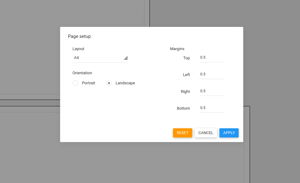 Change layout, orientation  and margins for each page
