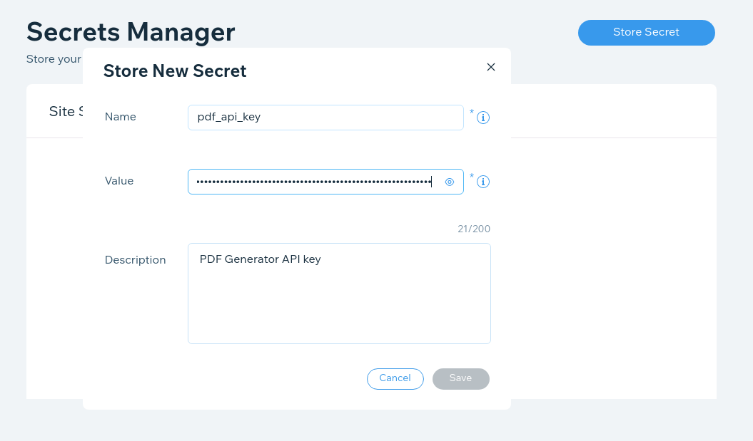 Velo's Secrets Manger - add API key as pdf_api_key