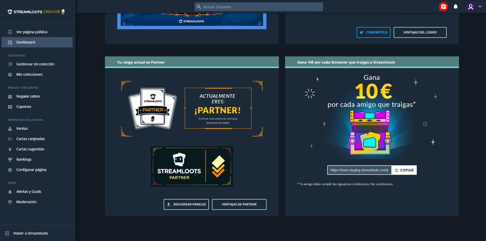 Cómo se ve el dashboard del rango Partner