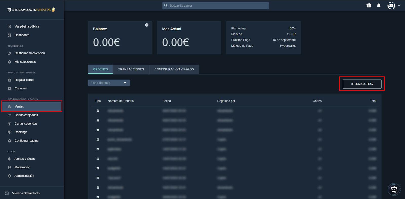 """Donde encontrar el botón """"Descargar CSV"""" para descargar un reporte detallado de todas ventas"""
