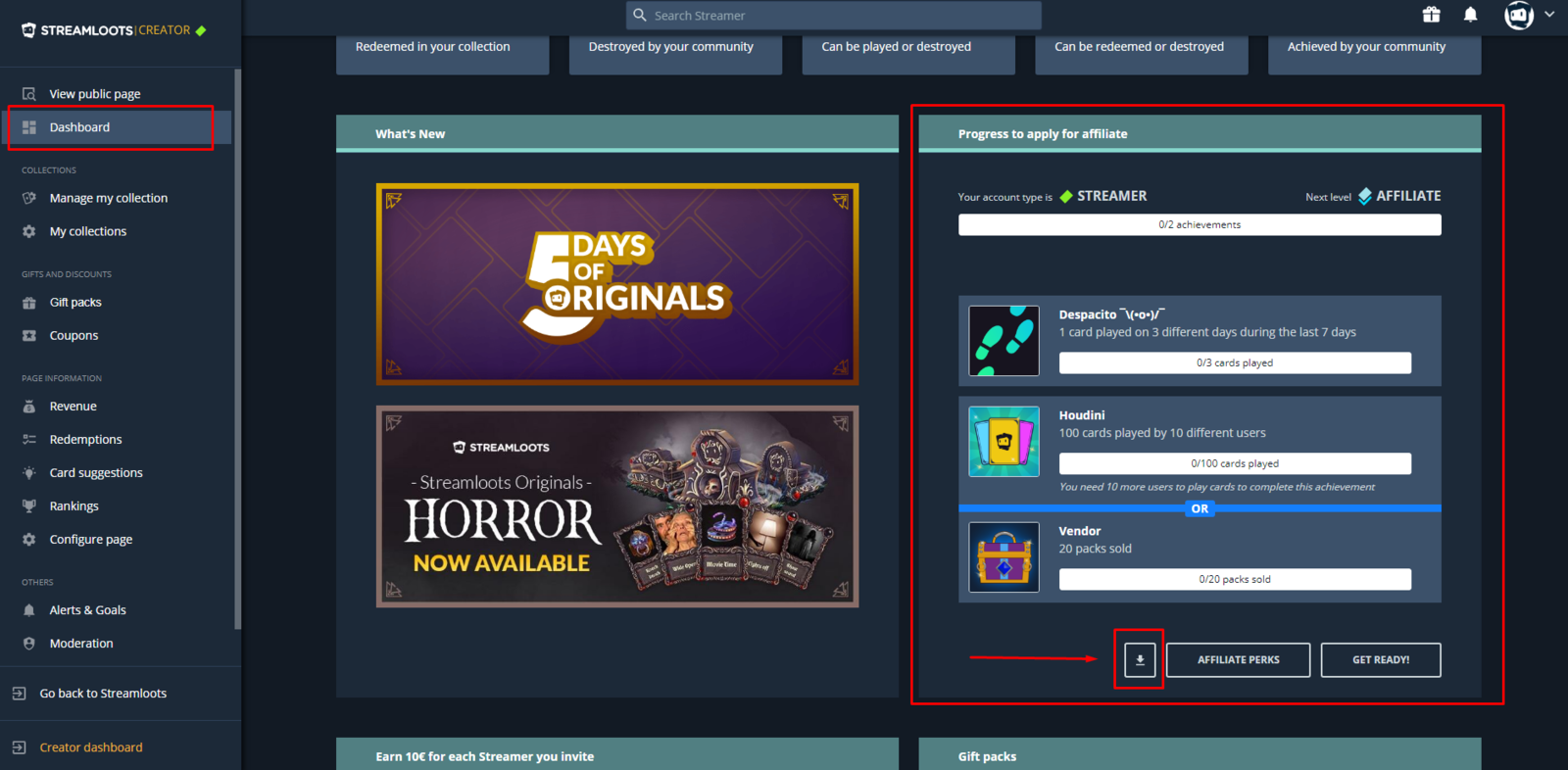 The button to download panels for streamers, affiliates and partners