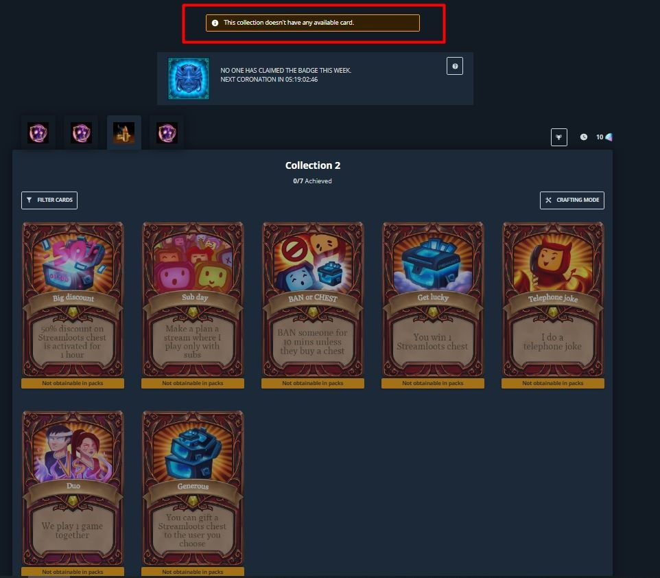 How a collection with no available cards in packs looks like