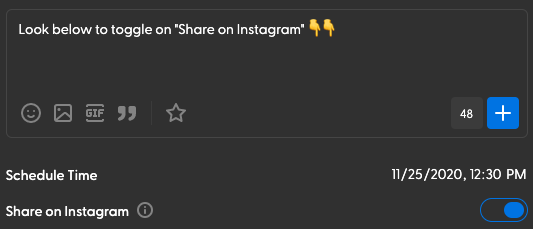"Toggle on ""Share on Instagram"""
