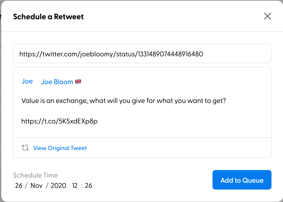 Previewing the retweet to schedule
