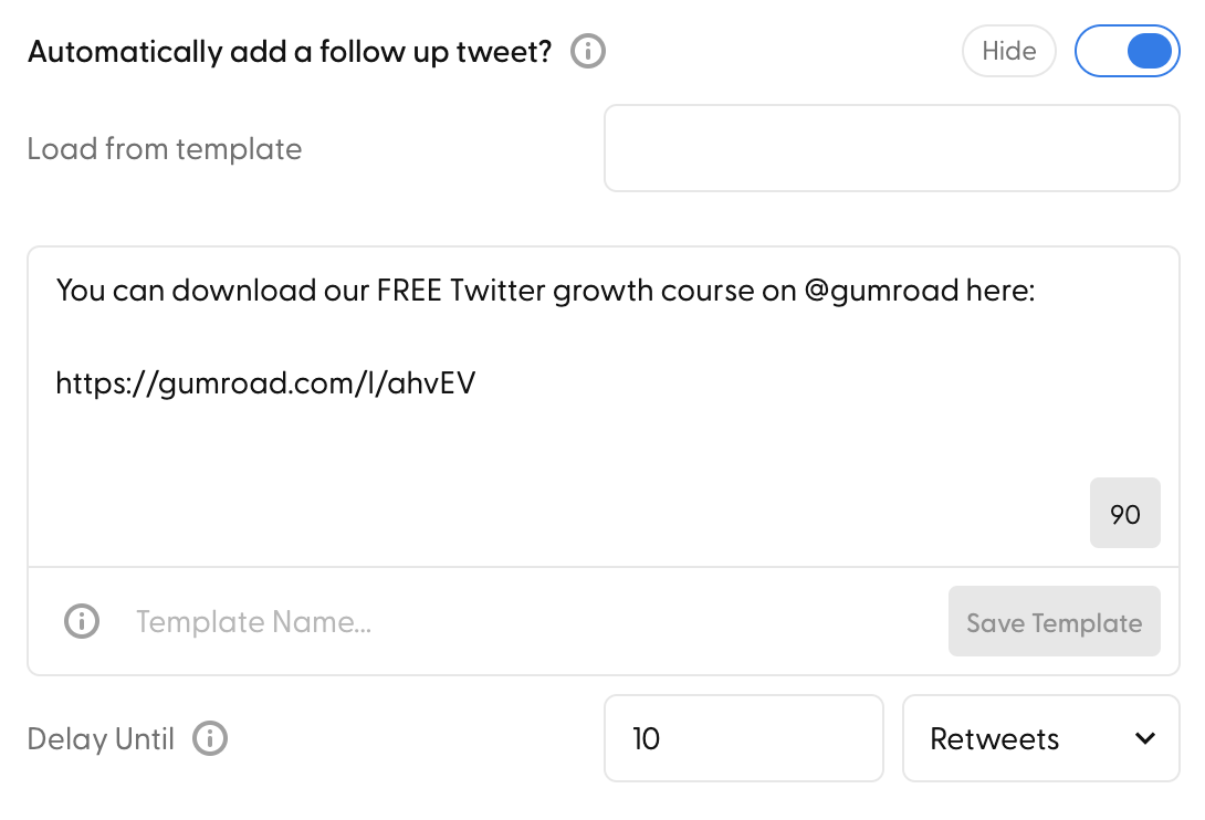 This is what Automatically add a follow-up tweet toggle looks like inside the composer