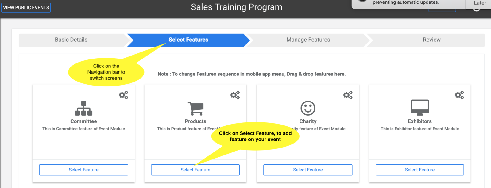 Click on Select Feature to add feature to your Event