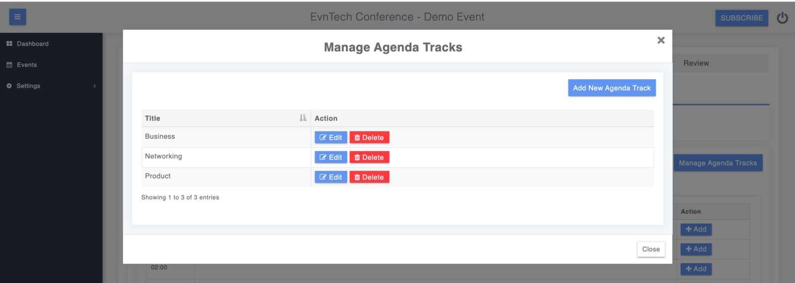Edit/Manage Tracks