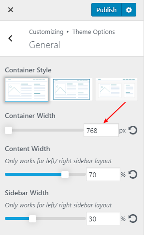 Decreasing the Container Width