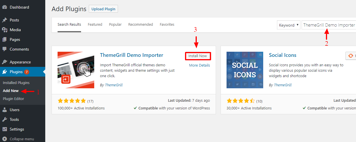 Installing ThemeGrill Demo Importer Plugin manually
