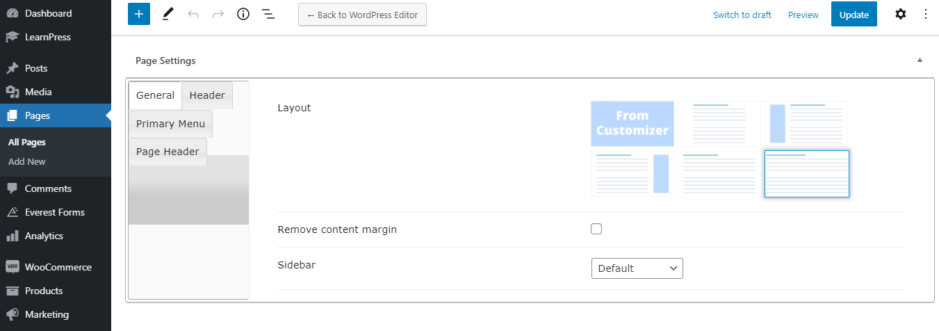 Individual Page Settings Options