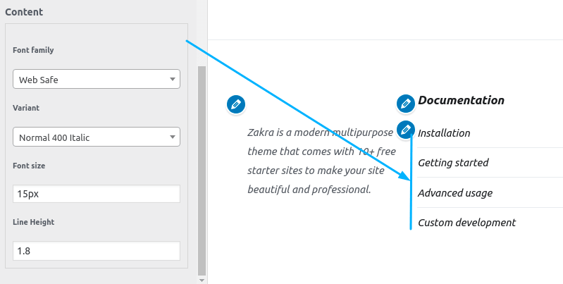 Widget Content Typography