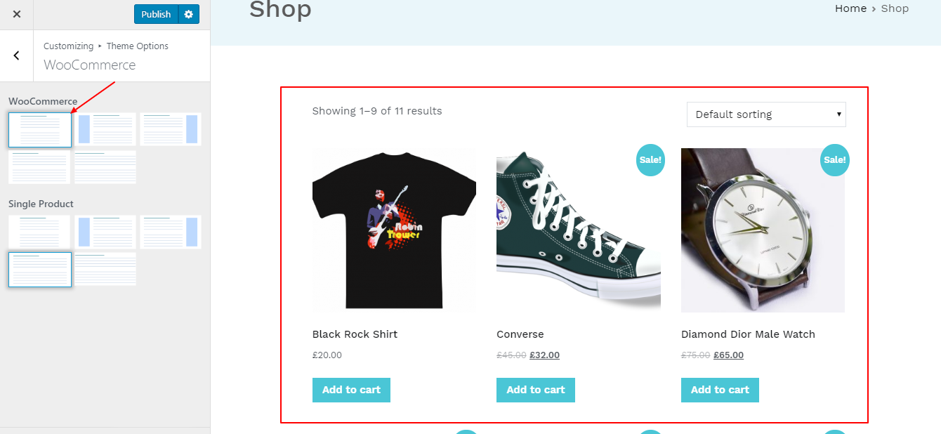 Content Centered layout of WooCommerce page