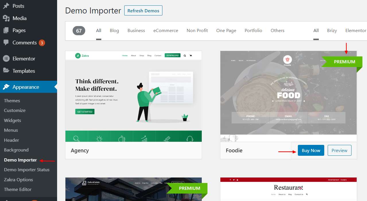 Zakra demo listing page in WordPress dashboard