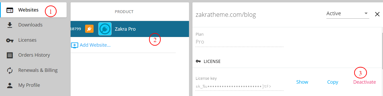 Deactivate License from Zakra Theme Account