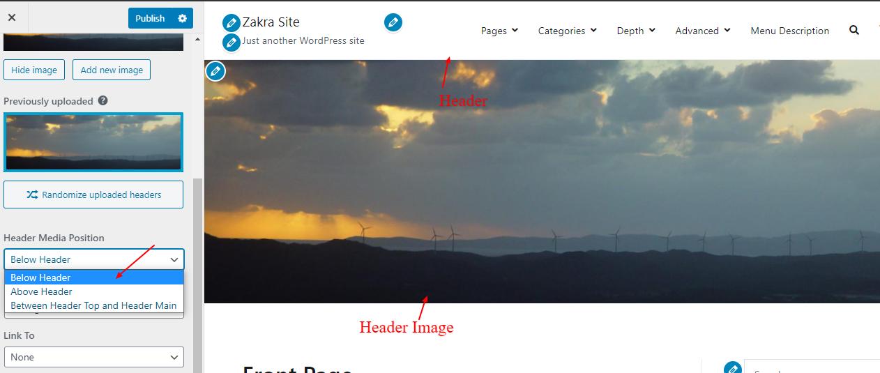 Header Media Position: Below Header