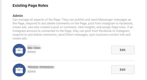 Existing Facebook Page Roles
