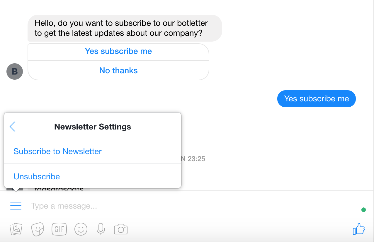 The unsubscribe menu in Messenger